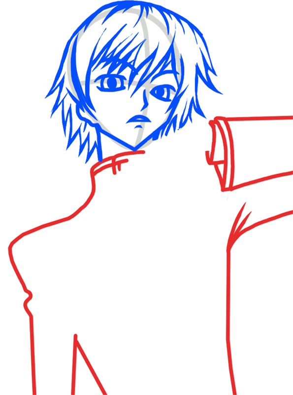 Learn easy to draw Lelouch Lamperouge Code Geass step 04