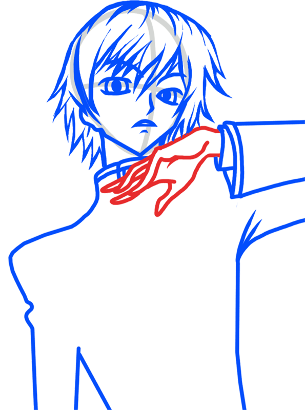 Learn easy to draw Lelouch Lamperouge Code Geass step 05