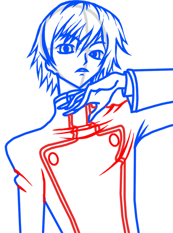 Learn easy to draw Lelouch Lamperouge Code Geass step 06