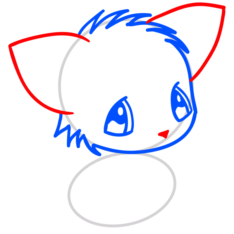 Learn easy to draw Little Cat step 04