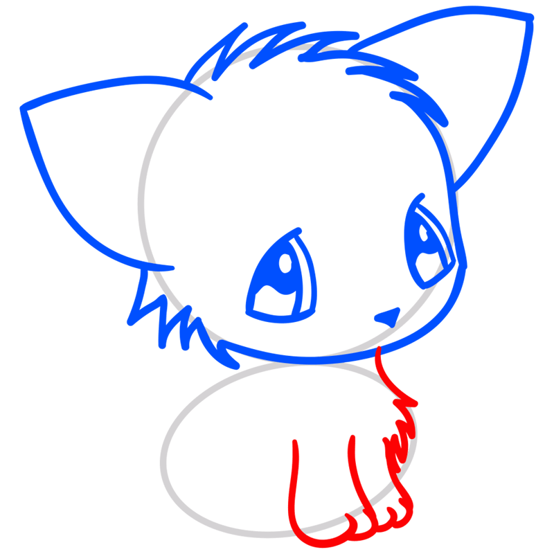 Learn easy to draw Little Cat step 05