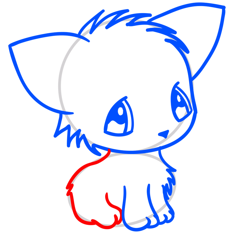 Learn easy to draw Little Cat step 06