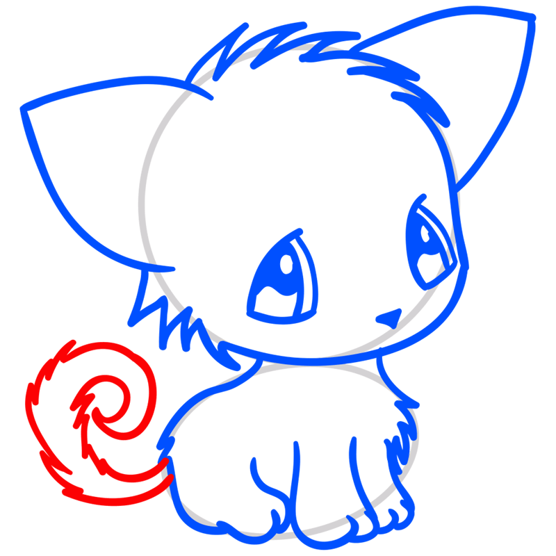 Learn easy to draw Little Cat step 07