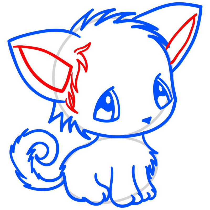 Learn easy to draw Little Cat step 08