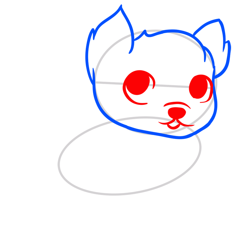 Learn easy to draw Little Dog step 03