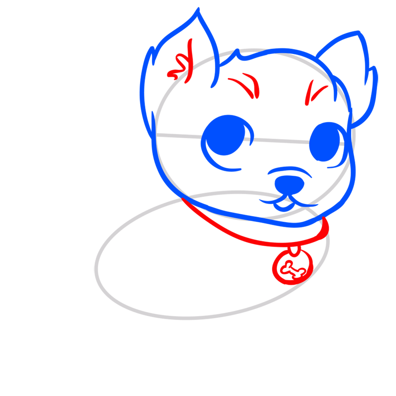 Learn easy to draw Little Dog step 04