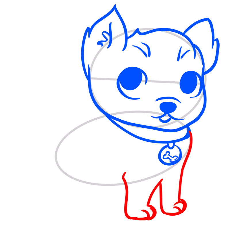 Learn easy to draw Little Dog step 05