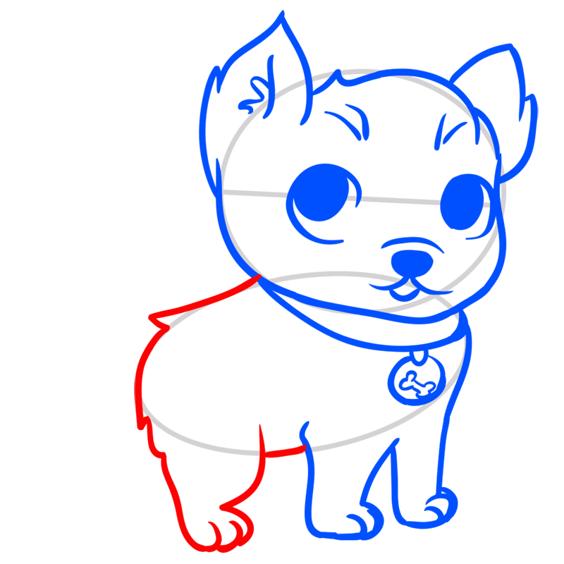 Learn easy to draw Little Dog step 06