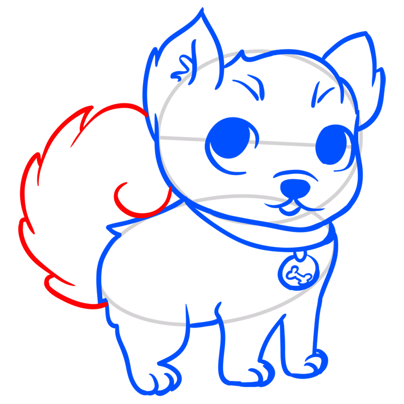 Learn easy to draw Little Dog step 07