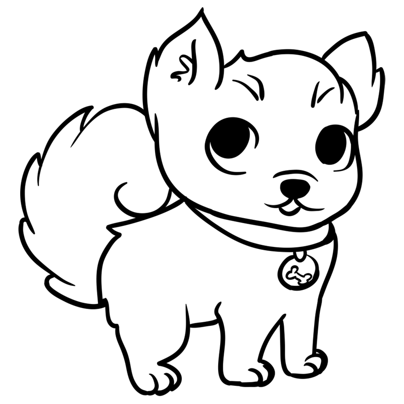 Learn easy to draw Little Dog step 08