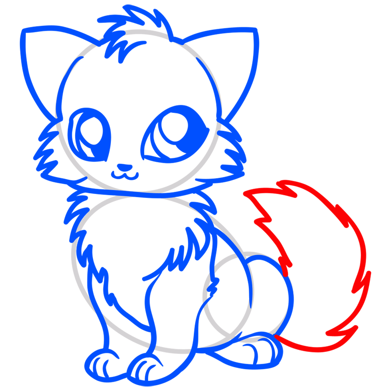 Learn easy to draw Little Fox step 09