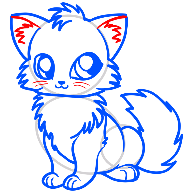 Learn easy to draw Little Fox step 10