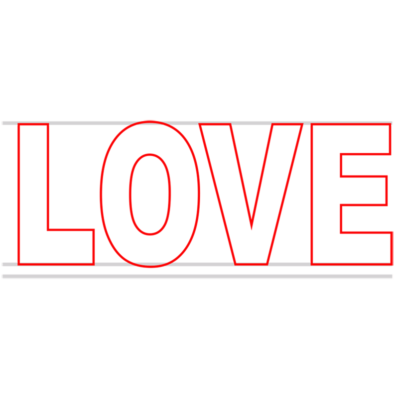 Learn easy to draw Love in 3D step 02