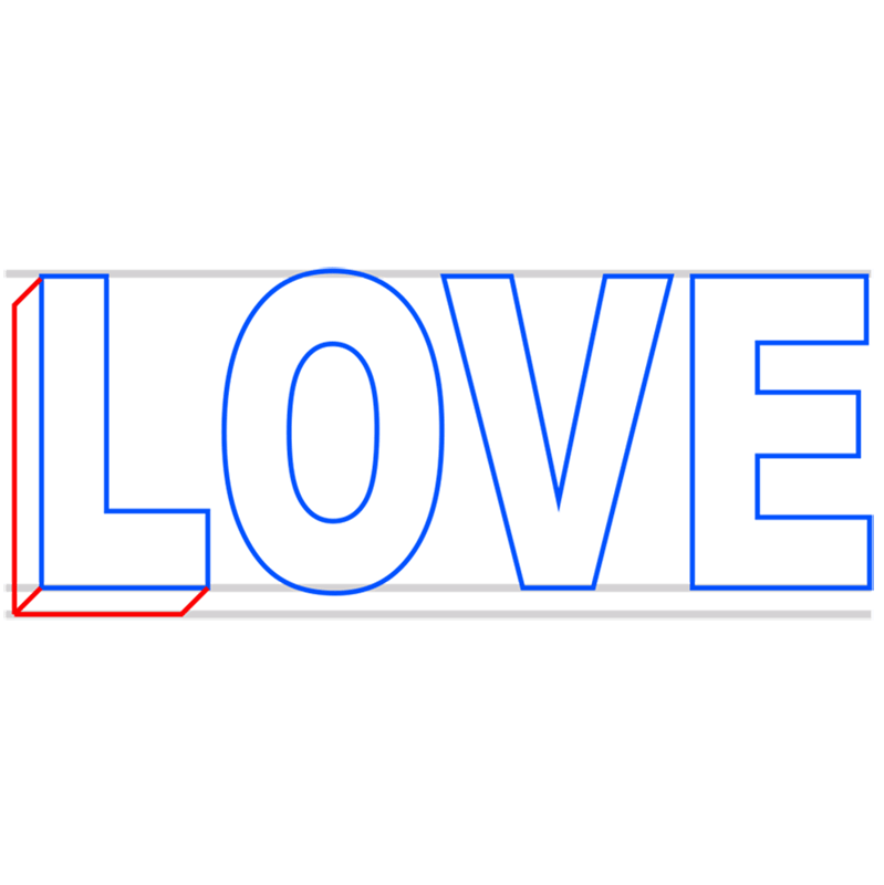 Learn easy to draw Love in 3D step 03