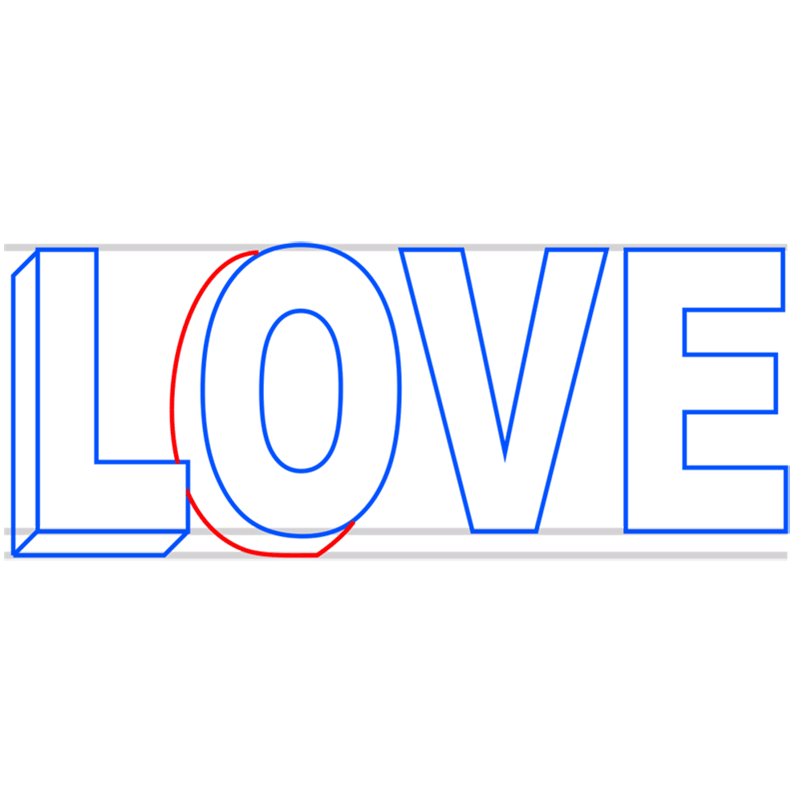 Learn easy to draw Love in 3D step 04