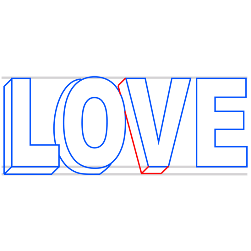 Learn easy to draw Love in 3D step 05