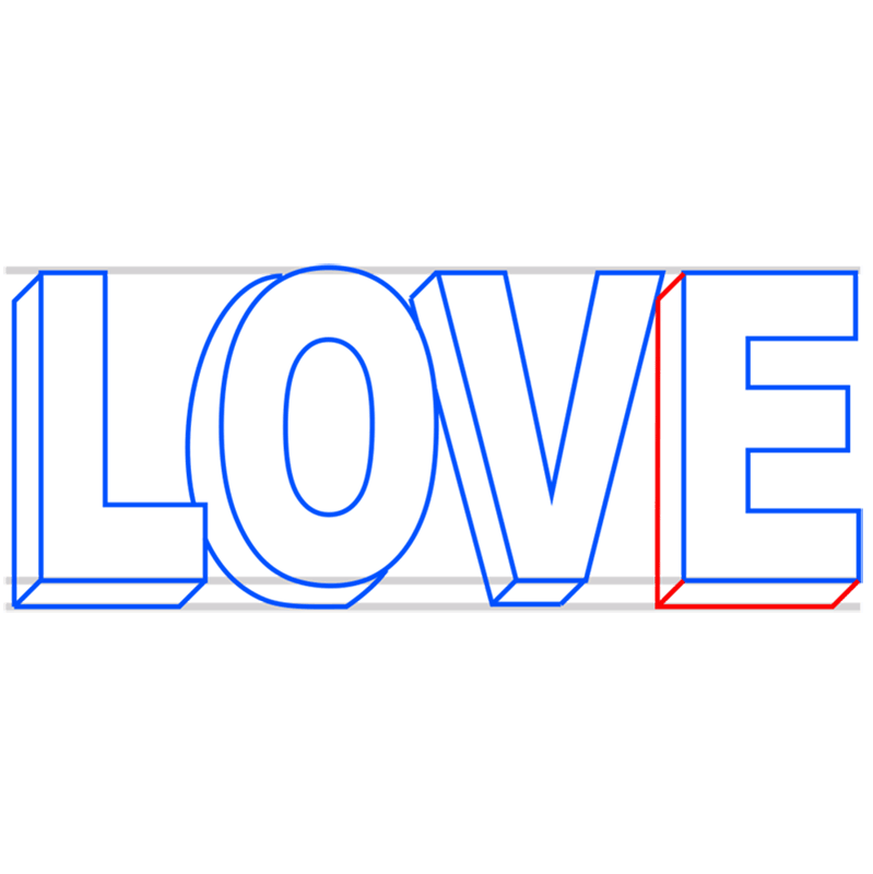 Learn easy to draw Love in 3D step 06