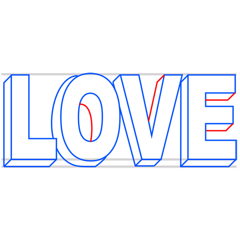Learn easy to draw Love in 3D step 07