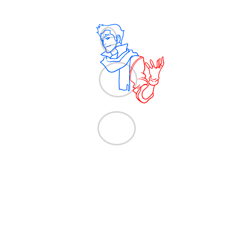 Learn easy to draw Mako Avartar step 06