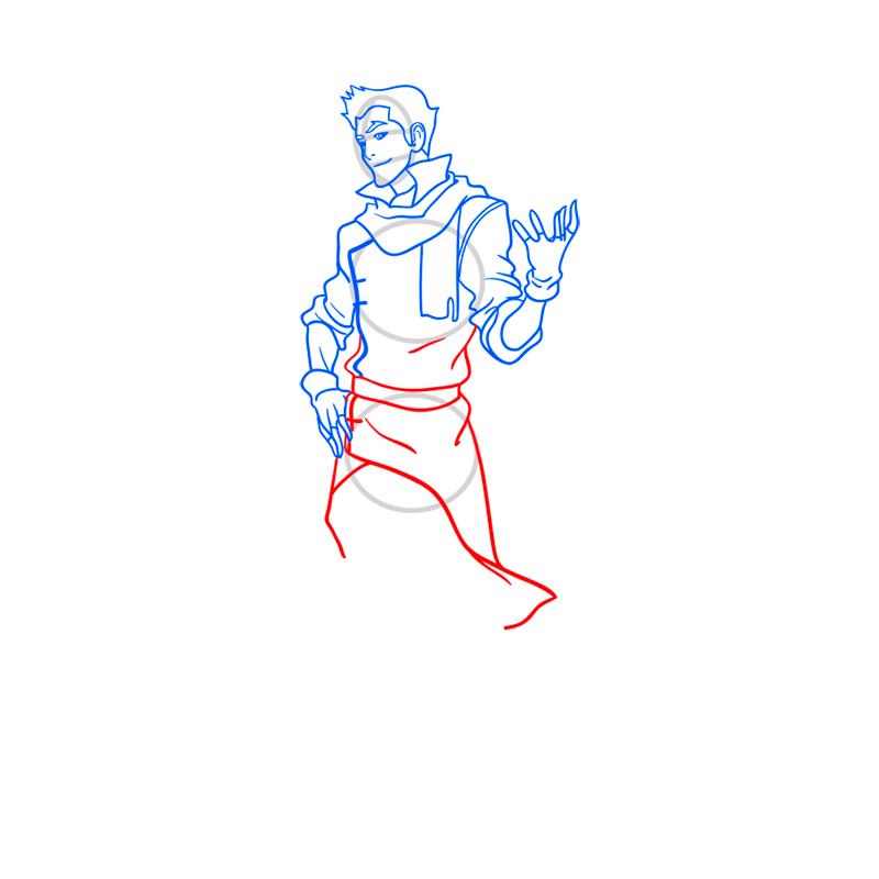 Learn easy to draw Mako Avartar step 08