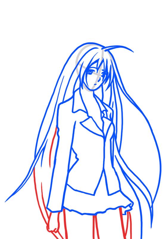 Learn easy to draw Moka Akashiya Rosario Vampire step 05