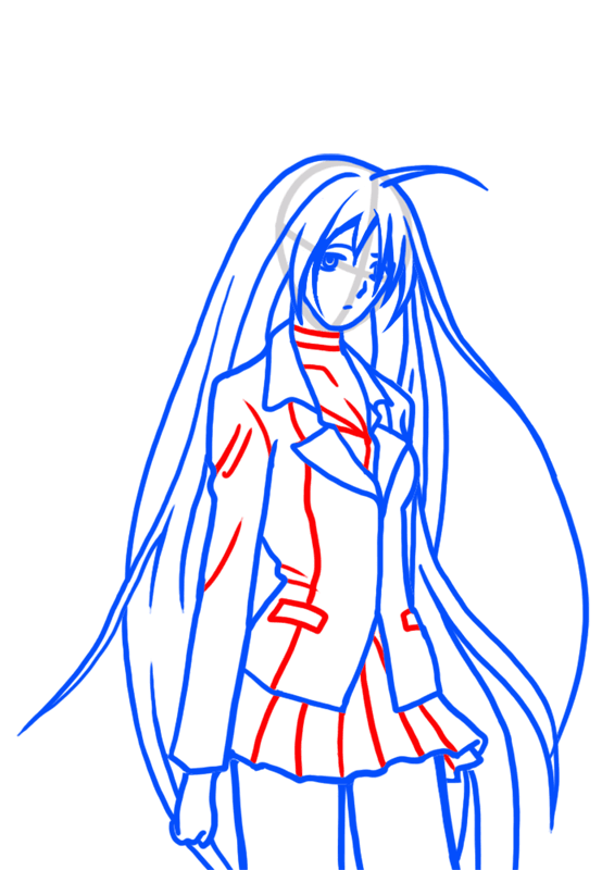 Learn easy to draw Moka Akashiya Rosario Vampire step 06