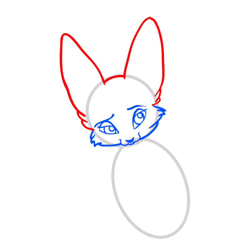 Learn easy to draw Nice Fennec Fox step 04
