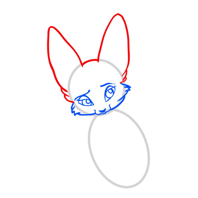 Learn easy to draw Nice Fennec Fox step 04