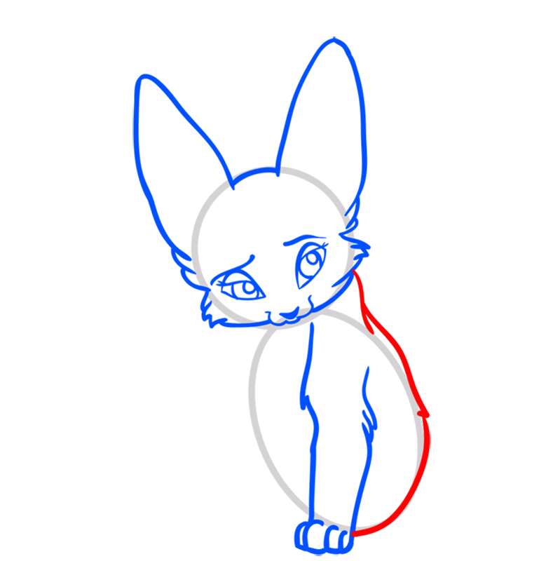 Learn easy to draw Nice Fennec Fox step 06