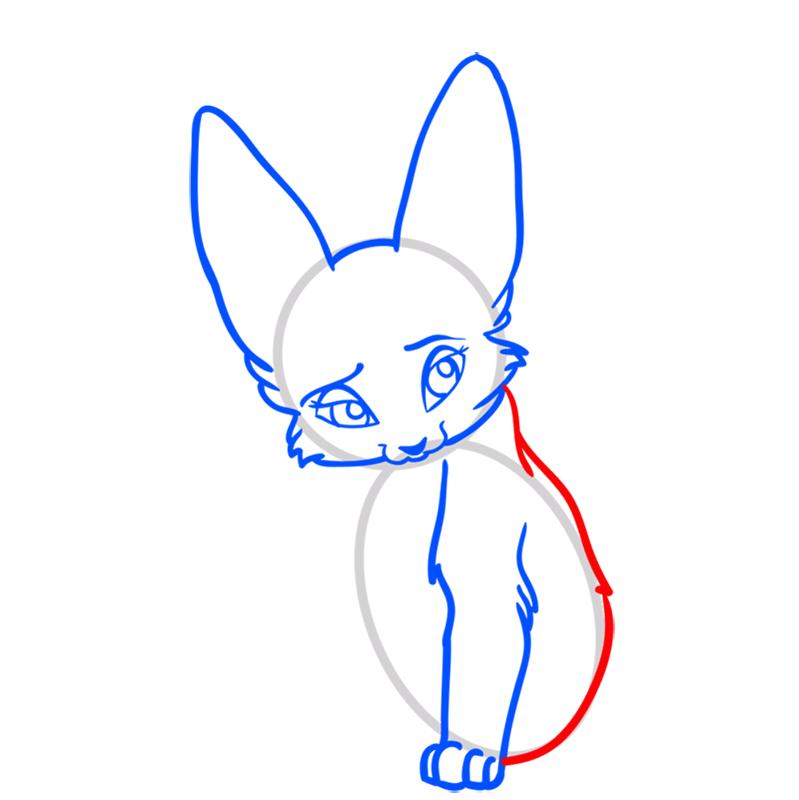 Learn easy to draw Nice Fennec Fox step 06