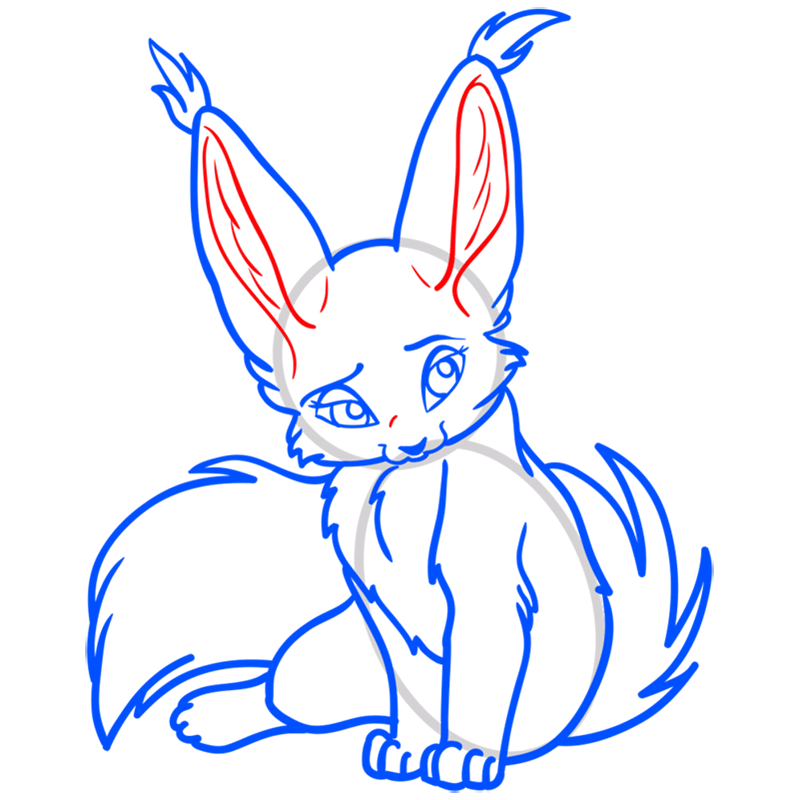 Learn easy to draw Nice Fennec Fox step 11