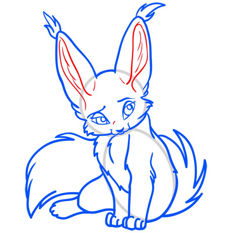Learn easy to draw Nice Fennec Fox step 11