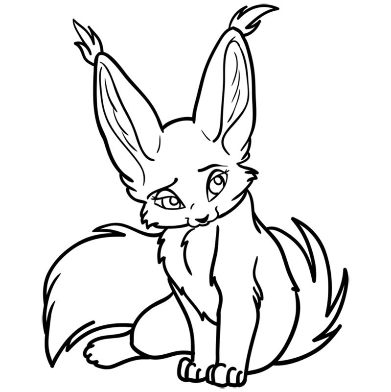 Learn easy to draw Nice Fennec Fox step 12
