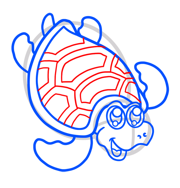 Learn easy to draw Nice Turtle step 07