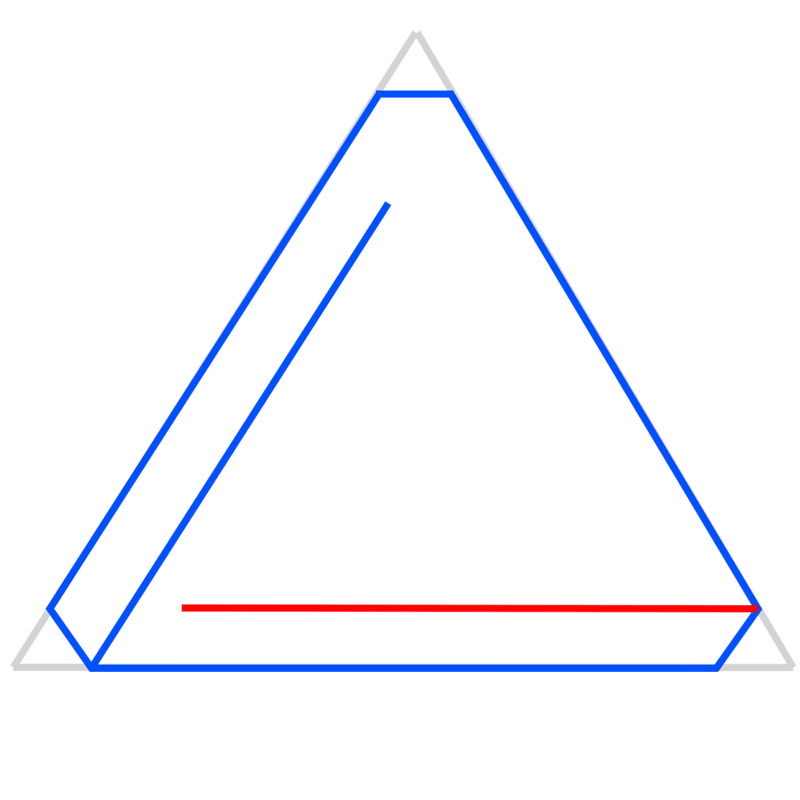 Learn easy to draw Penrose Triangle step 04
