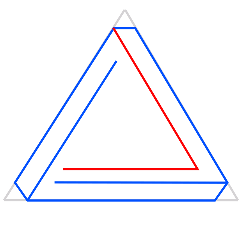 Learn easy to draw Penrose Triangle step 05