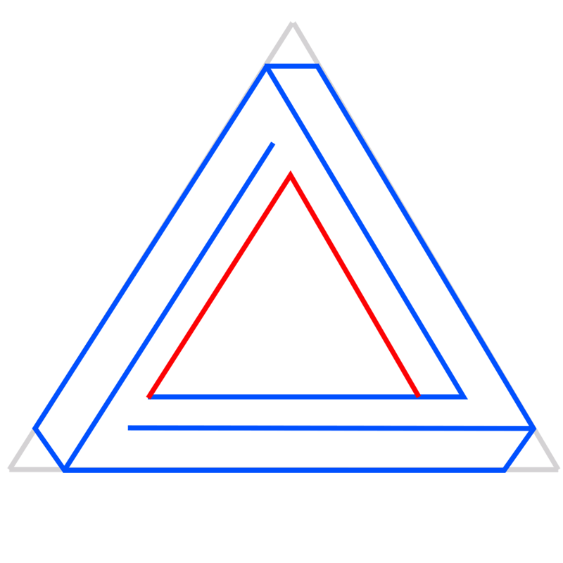Learn easy to draw Penrose Triangle step 06