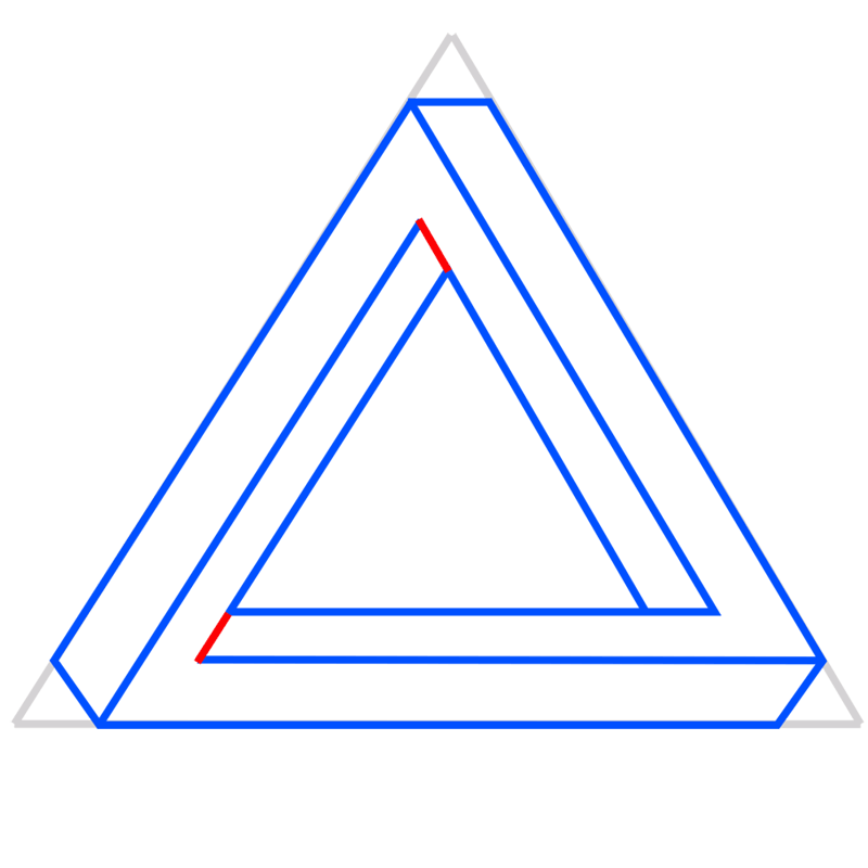 Learn easy to draw Penrose Triangle step 07