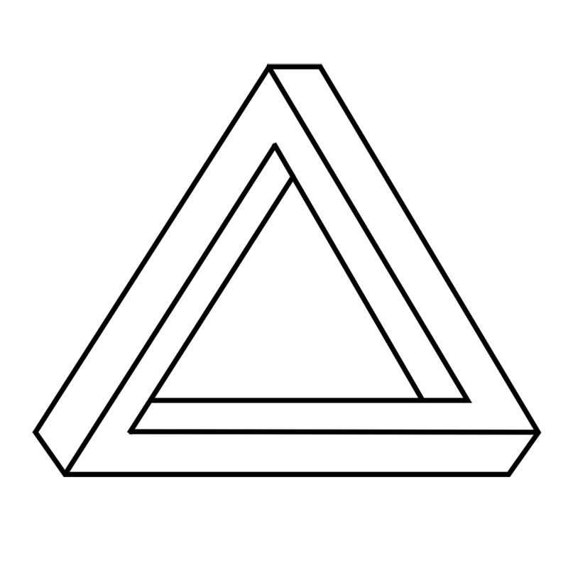 Learn easy to draw Penrose Triangle step 08
