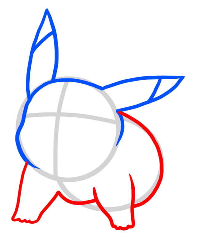 Learn easy to draw Pikachu Pokemons step 03