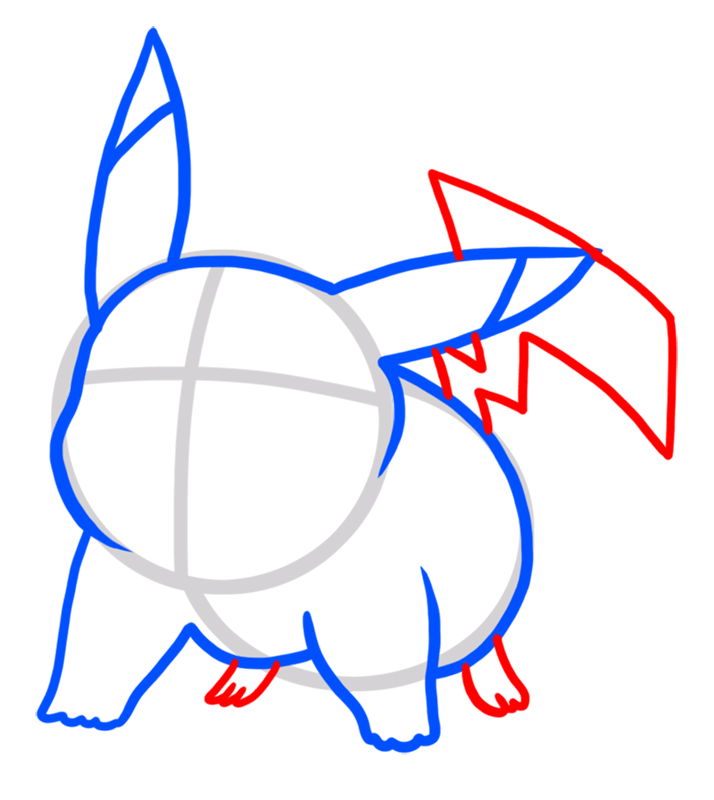Learn easy to draw Pikachu Pokemons step 04