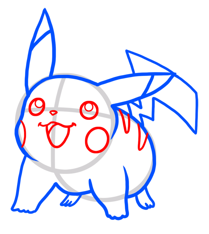 Learn easy to draw Pikachu Pokemons step 05