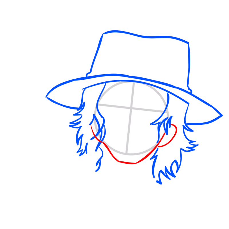 Learn easy to draw Pontgas Face One Piece step 04