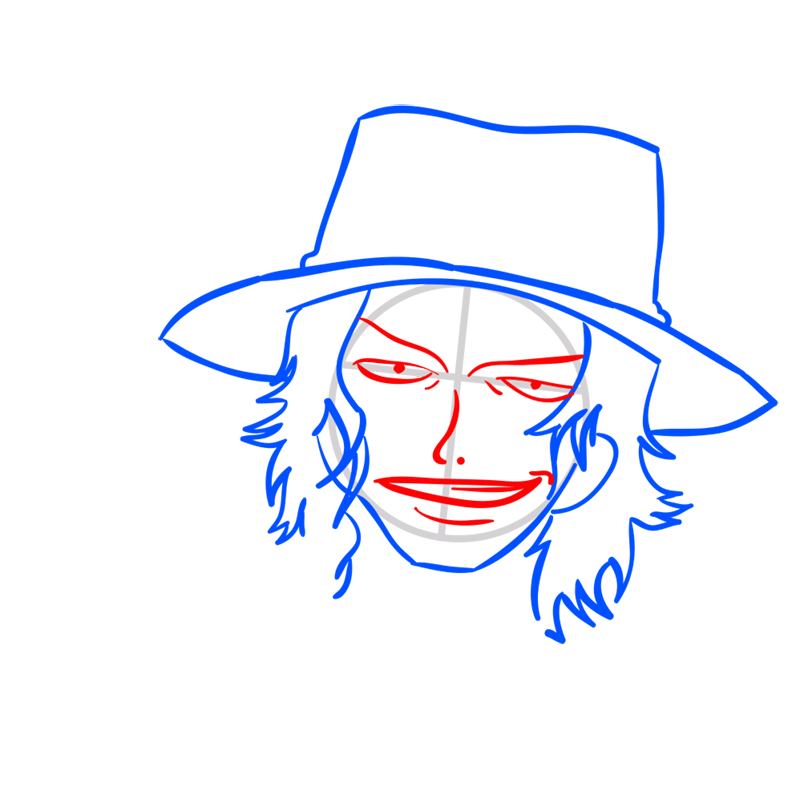 Learn easy to draw Pontgas Face One Piece step 05