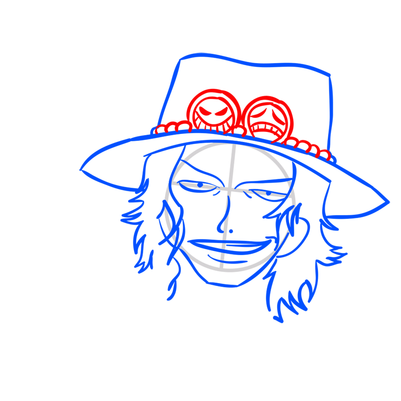 Learn easy to draw Pontgas Face One Piece step 06