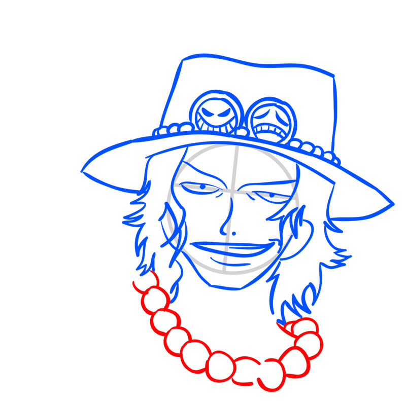 Learn easy to draw Pontgas Face One Piece step 07