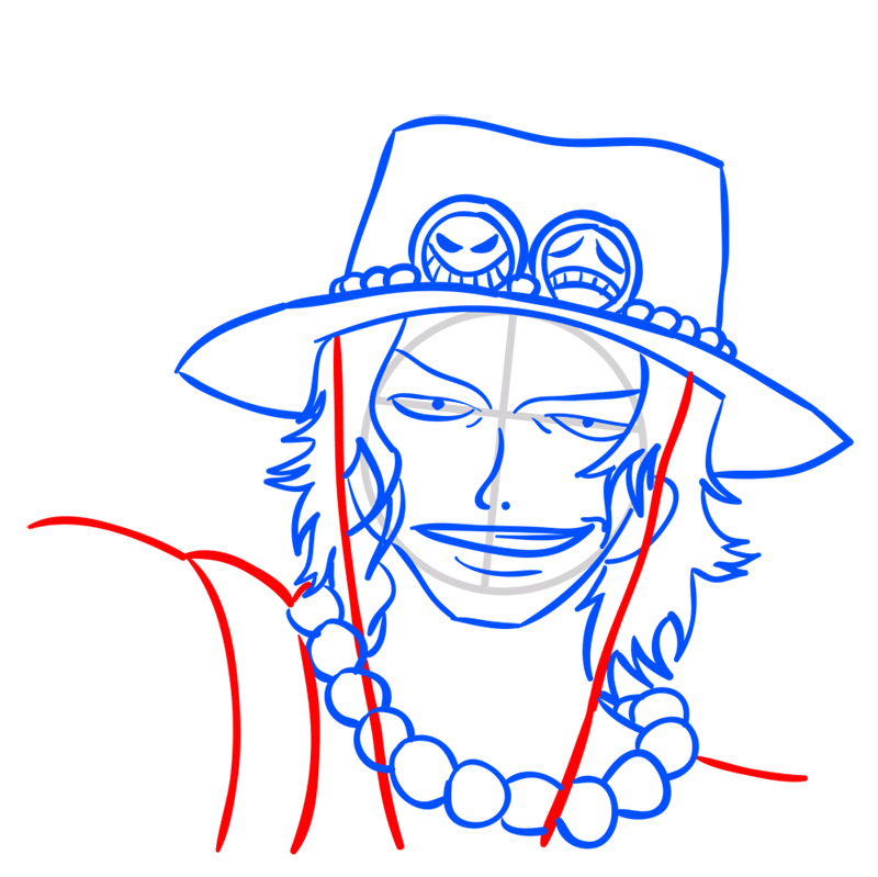 Learn easy to draw Pontgas Face One Piece step 08