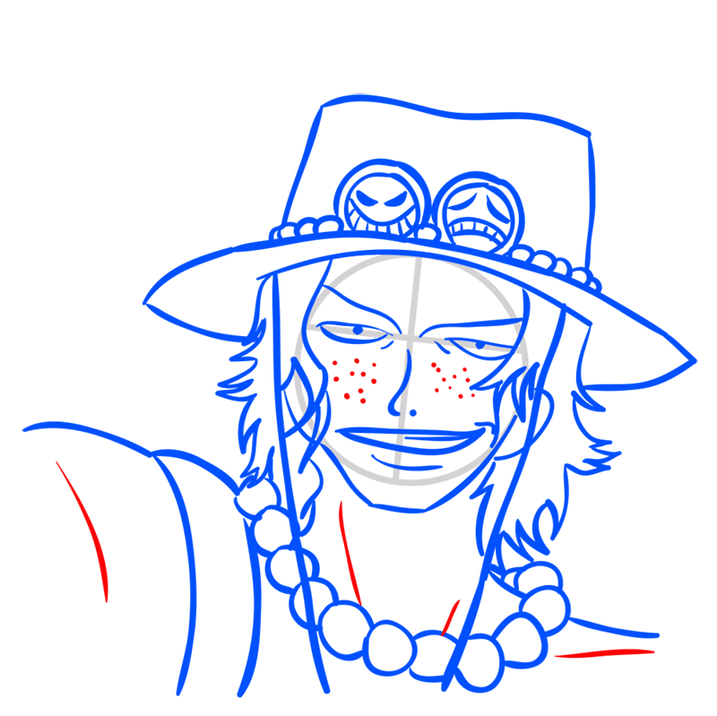 Learn easy to draw Pontgas Face One Piece step 09