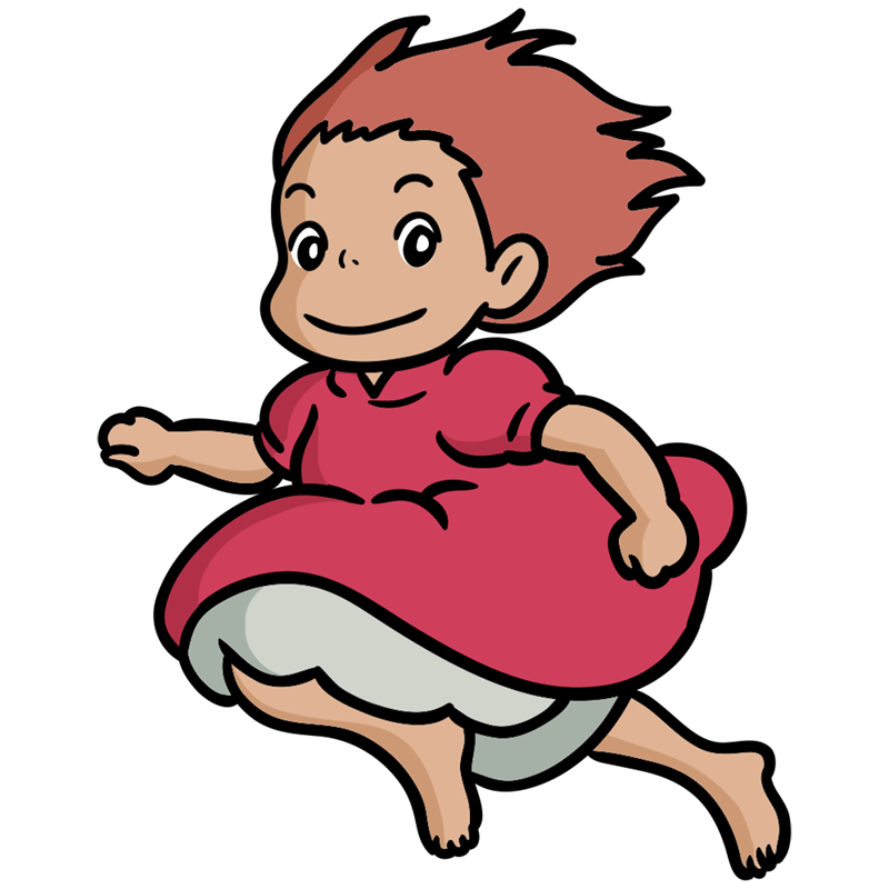 Learn easy to draw Ponyo Ghibli Characters step 00