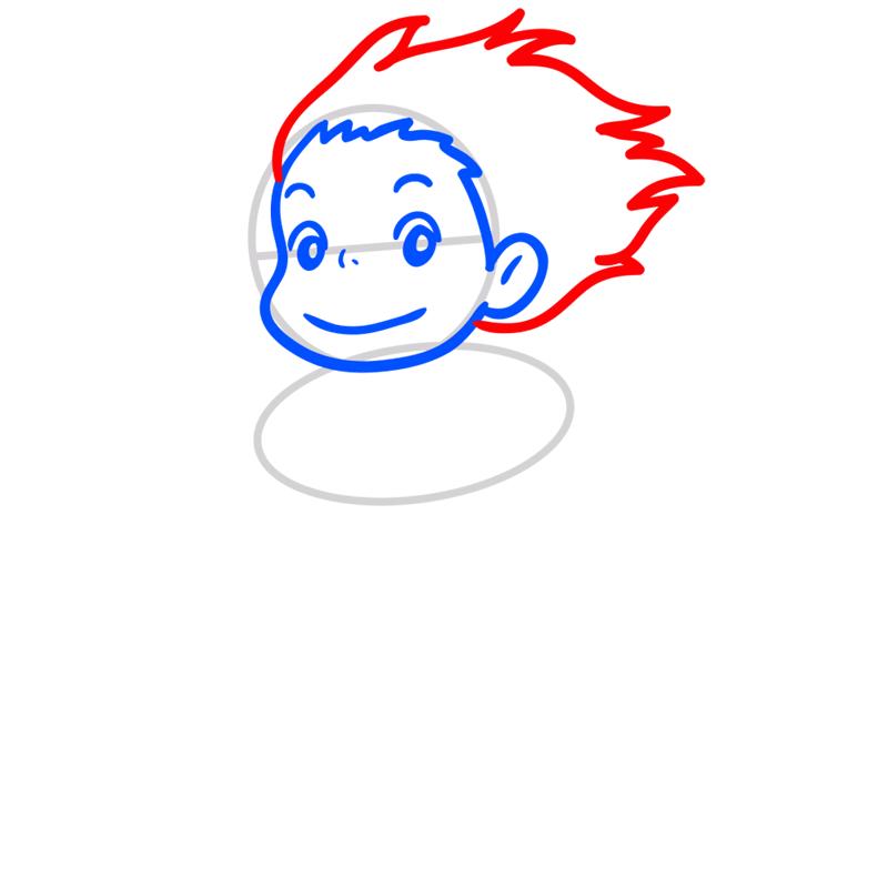 Learn easy to draw Ponyo Ghibli Characters step 04